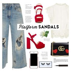 """Platform sandals - red"" by yexyka ❤ liked on Polyvore featuring Gucci, Topshop, R13, Dolce&Gabbana, Huda Beauty, Lancôme, Prada and platforms"