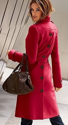 love the idea of having a nice long, pretty bright red coat for winter. That's chic, stylish and afforadable