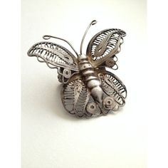 Silver Filigree Butterfly Brooch ($25) ❤ liked on Polyvore featuring jewelry, brooches, monarch butterfly jewelry, silver butterfly jewelry, silver filigree jewellery, silver jewellery and butterfly brooch