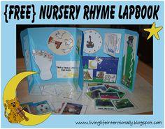 {free} Nursery Rhymes Lapbook - interactive activites to reinforce 11 nursery rhymes with kids 2-5 years old