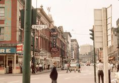 000-block West Cordova Street looking west from Carrall Street, circa-1963. This intersection, from the 1890s to the 1950s, was the center of the loggers' district. [City of Vancouver Archives; Photographer unknown]