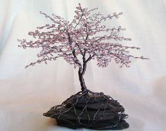 "Cherry Blossom Spring Colors Beaded Bonsai Wire Tree Sculpture 7"" - CUSTOM made to order. $77.00, via Etsy."