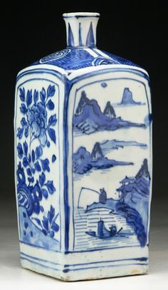 """Chinese Antique Blue & White Porcelain Vase: of Late Ming Dynasty; Size: H: 9-1/2"""""""