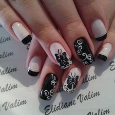 Cute and easy DIY butterfly nail art design ideas to do at home.Colorful butterfly nail designs for girls like french butterfly manicure Fancy Nails, Love Nails, Pretty Nails, Butterfly Nail Designs, Butterfly Nail Art, White Butterfly, White Nail Art, White Nails, Black Nail