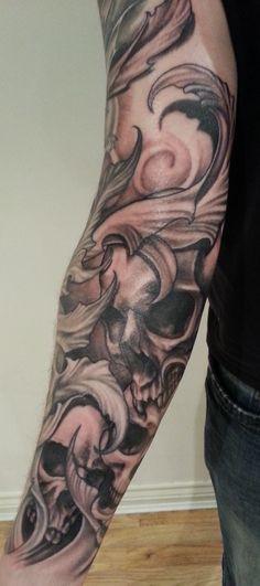 Filigree tattoo sleeve tattoo designs for men arms for Badass angel tattoos