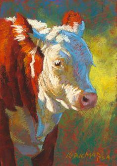"Rita Kirkman's Daily Paintings, cow pastel portrait ""Little Mac"""