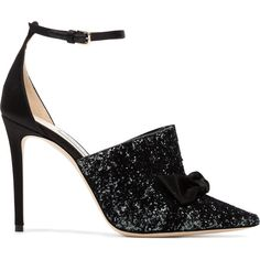 Jimmy Choo Black Glitter temple 100 pumps ($895) ❤ liked on Polyvore featuring shoes, pumps, black, kohl shoes, satin pumps, jimmy choo shoes, black shoes and black satin shoes