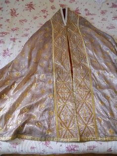 ANTIQUE FRENCH GOLD AND SILVER FABRIC  EMBROIDERY CAPE RELIGIOUS VESTMENTS