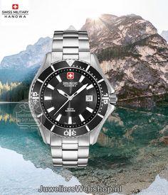 Swiss Military Hanowa Nautila horloge 06-5296.04.007 heren staal met zwarte wijzerplaat. #swissmilitaryhanowa #watch #horloge #herenhorloge #menswatch #watches #style #swissmade #juwelierswebshop