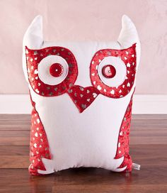 Owl cushion handmade Large. Valentines day red by CoushiCreations