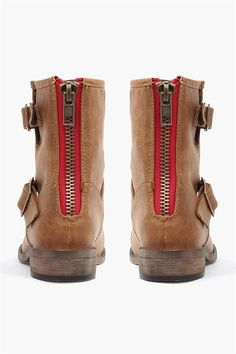 Franki Boots in Tan with Red Zipper Details