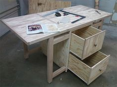Folding assembly table with storage.