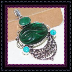 Carved Green Quartz & Turquoise Pendant by Pagan2012Gems on Etsy