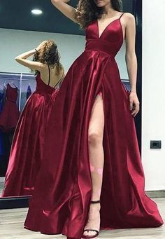 Sexy Long Prom Dresses With Slit Custom-made School Dance Dress Fashion Graduation Party Dress Sexy Long Ball Gowns With Slit Tailored School Dance Dress Fashion Graduation Gown Dress Winter Formal Dresses, Formal Gowns, Dress Winter, Dress Formal, Winter Shoes, Womens Formal Dresses, Formal Hair, Outfit Winter, Fancy Dress