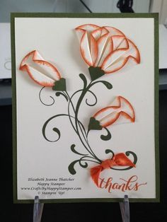 I personally LOVE this card! I learned this technique while at convention. Do you see these awesome 3D flowers?!? They are made from a simple circle punch with the edges sponged in Tangelo Twist! T...