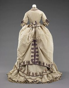 Dinner dress (back view)  -  American  -  1870