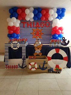 Baby shower ideas for boys sailor theme parties super ideas Baby shower idea Sailor Theme Parties, Sailor Party, Sailor Baby Showers, Baby Boy Shower, Navy Baby Showers, Deco Theme Marin, Festa Mickey Baby, Baby Shower Themes Neutral, Baby Shower Decorations For Boys