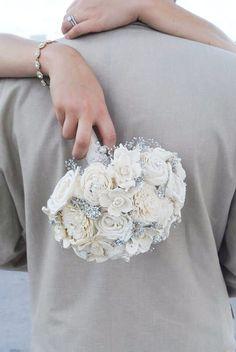 Handmade Vintage Wedding Bouquet-  Sola Flower, Button Bouquet, Bridal and Bridesmaid Bouquet, Outdoor and Garden Wedding, Rustic Wedding