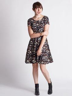 Women s elbow sleeve flocked pont 233 shift dress from lands end my