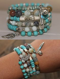 Wrap bracelet Memory Wire, turquoise stone beads, amazonite beads, glass beads, charms
