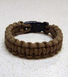 550 paracord bracelet....easy to make...if you can macrame, you can easily figure it out like i did, ...but if you can't, then go to youtube and grab a how to video. uses 9-10 yards on the average.  The little clips can be bought online or at a craft store..i buy mine online in bulk., it's way cheaper. Some of the videos will show you how to do the loop and button method also.