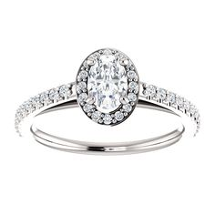 14kt White Gold 6x4mm Center Oval Genuine Diamond (Color GHI, Clarity SI2-SI3) or 16 Halo Diamonds (Color I-J, Clarity I1) and 22 Accent Diamonds (Color I-J, Clarity I1) Halo-Style Engagement Ring...(ST121987:537:P).! Price: $1299.99