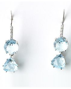 Ice-blue topaz and diamond drop earrings