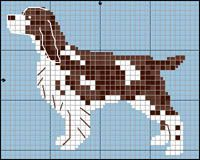 English Springer Spaniel Source by Cross Stitch Kitchen, Mini Cross Stitch, Cross Stitch Animals, Cross Stitch Charts, Cross Stitch Patterns, Pixel Pattern, Dog Pattern, Cross Stitching, Cross Stitch Embroidery