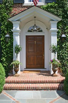 House Tour: Darien, Connecticut – Design Chic – Decor is art Front Door Awning, House Front Door, House Entrance, Front Porch Addition, Colonial Exterior, Wooden Steps, Porch Steps, Steps Design, Georgian Homes