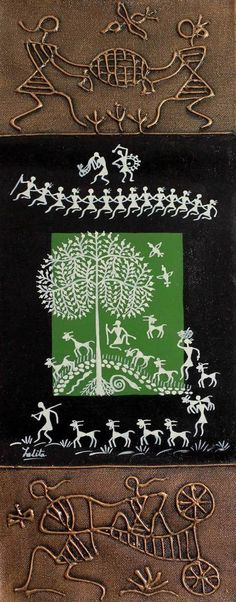 Original Warli Painting Folk Art Acrylic 'Shelter at Noon' NOVICA India