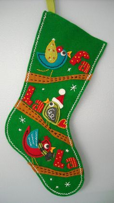Singing Birds Felt Christmas Stocking. $45.00, via Etsy.