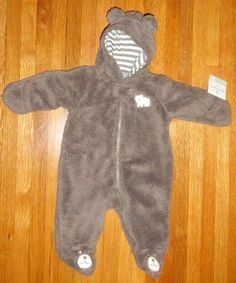 91400ef01 NWTS CARTERS Baby Boys Fleece Hoodie Bunting Snowsuit Size 3 Months BROWN  BEAR #Carters #