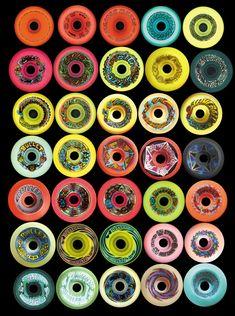 Skateboard Art : Wheel Graphics/ Logo Designs by Jim Phillips, artist & graphic designer Skateboard Wheels, Skate Wheels, Skateboard Design, Skateboard Decks, Skateboard Outfits, Old School Skateboards, Vintage Skateboards, Hang Ten, Skates