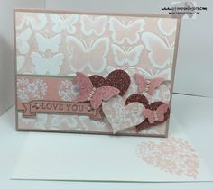 Stampin' Up! Bloomin' Love stamp set, Love Blossoms DSP, Fluttering TIEF and Papillon Potpourri. http://stampsnlingers.com/2015/12/23/stampin-up-fluttering-love-blossoms/