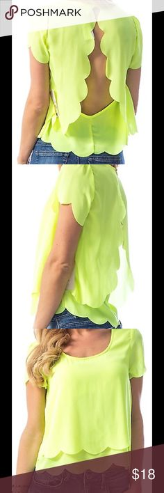 SCALLOP TIERED CHIFFON TOP 1Material 100% POLYESTER. Description LIME SCALLOP TIERED CHIFFON TOP ColorLIMESizeS-M-L Tops Blouses