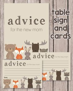 Woodland Themed Baby Shower Ideas: Printable Woodland Animal Advice For Mom Cards & Table Sign - PrintItBaby.com