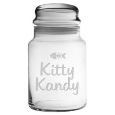 I could make this!! Perfect for stowing your four-legged friend's favorite treats, this charming glass jar showcases a sand-etched typographic motif.  P...