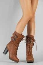 KM-1 Buckle Lace Up Military Boot <3 Loveee - wadulifashions.com