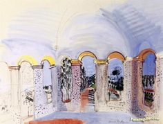The Terrace with Arches at Vallauris Artwork by Raoul Dufy Hand-painted and Art Prints on canvas for sale,you can custom the size and frame