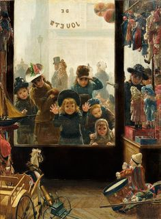 The shop window of Toys, Timoléon Marie Lobrichon. French (1831-1914)