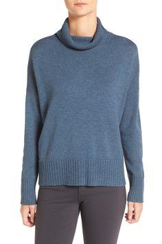 Wool Blend Jersey Turtleneck Sweater