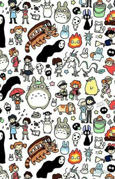 Kawaii Ghibli Doodle fabric by kirakiradoodles on Spoonflower - custom fabric Cute Doodle Art, Cute Doodles, Cute Art, Cartoon Drawings, Easy Drawings, Geeks, Studio Ghibli Art, Ghibli Movies, Hayao Miyazaki