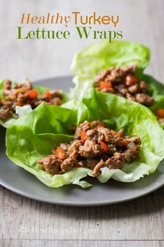 Easy turkey or chicken lettuce wraps recipe that's healthy, low calorie. Best Recipe for chicken or turkey lettuce wraps or Asian lettuce cups recipe turkey