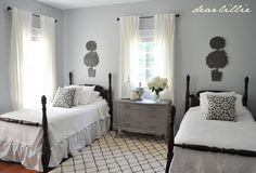I have these beds in my guest bedroom too….maybe I should paint mine black…. like the rug…..on Dear Lillie bloglovin.com