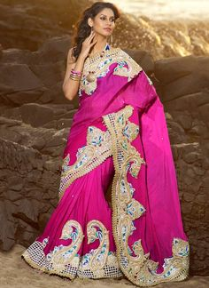indian-magenta-faux-chiffon-cut-work-saree.jpg (800×1100)