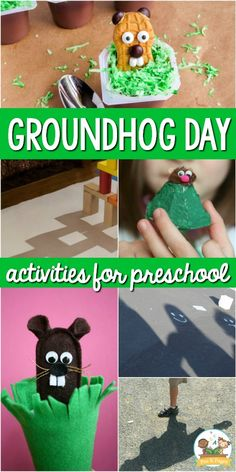 A collection of activities for Groundhog Day; groundhog and shadow activities for preschool, pre-k, and kindergarten; Pre-K Groundhog Day theme Preschool Groundhog, Groundhog Day Activities, School Age Activities, Preschool Science Activities, Preschool Themes, Preschool Activities, Preschool Winter, Holiday Activities, Holiday Crafts