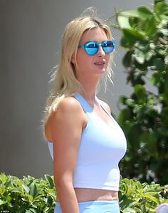 Ivanka Trump models crop top and leggings as she is pictured for the first time in two months   Daily Mail Online Donald Trump Daughter, Trump Models, Crop Top And Leggings, Ivanka Trump, Mail Online, Daily Mail, First Time, One Piece, Crop Tops