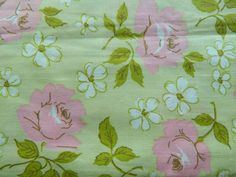 Romantic Green Pink Floral Fabric by the Yard by ReminisceVintage