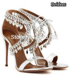 Milla Crystal Fringe Sandals Jewel Embellished Gladiator Sandals Sexy High Heels  Pumps Lace Up Bling Wedding f7e381e52dd7