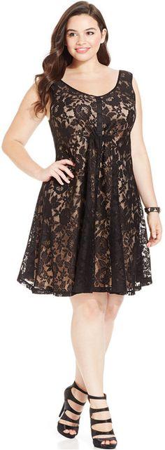 Plus Size V-Neck Lace Dress